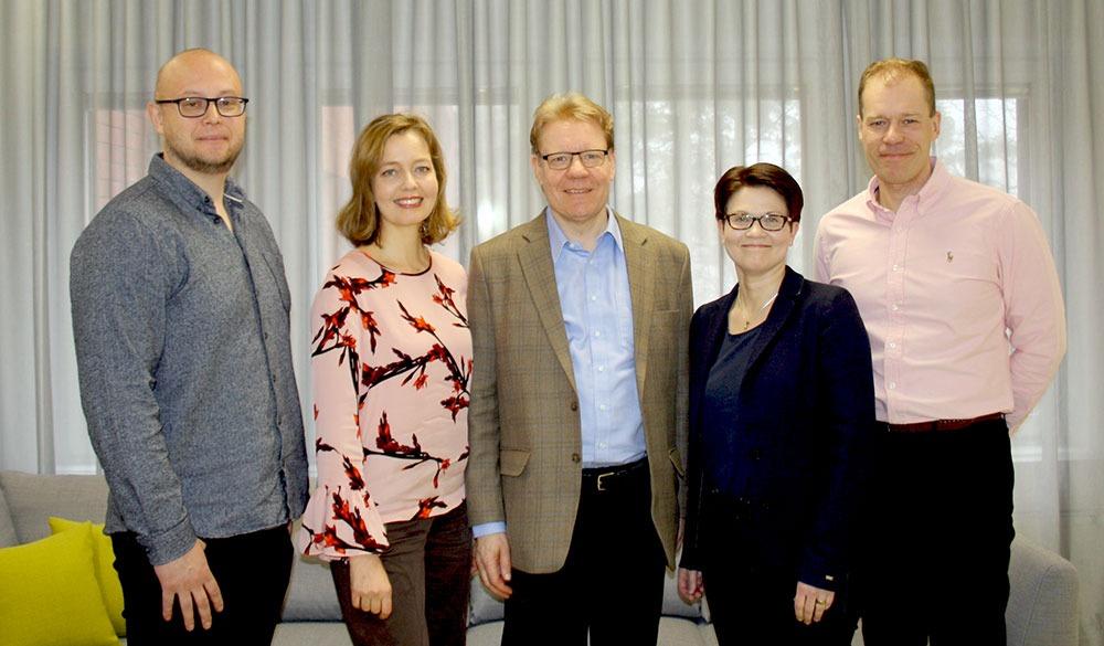 Vasemmalta: Juha Häkkinen (AKT), Heini Polamo (SKAL), Pekka Aaltonen (LogYL), Mari Vasarainen (ALT),